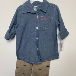 NEW cool outfit of blue shirt and khaki pants.